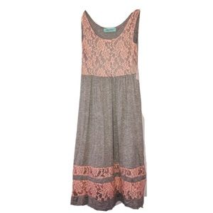 Filly Flair sleeveless grey dress pink lace NWT